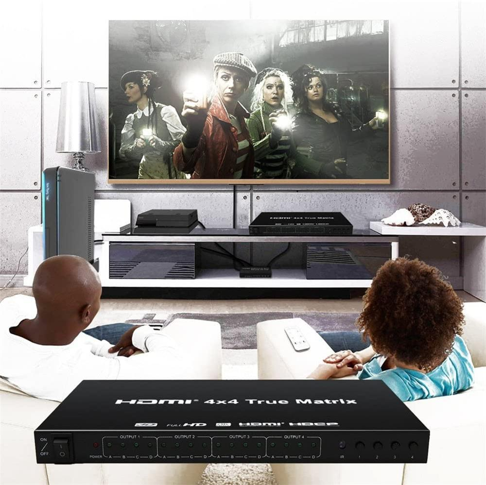 HDMI Matrix Switcher,4K HDMI Matrix Switch 4x4 with Remote Control HDMI V1.4 Switcher Splitter Converter Support 4K*2K 3D 1080P enlarge