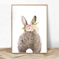 girls bedroom decor bunny rabbit tail butt print nursery animal wall art pictures canvas painting kids room posters and prints