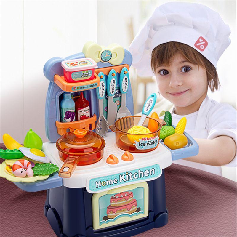 Набор игрушечных игрушек для кухни, имитирующий спрей, со звуком, Детский Светильник, игрушка для приготовления пищи, подарок для мальчиков ...