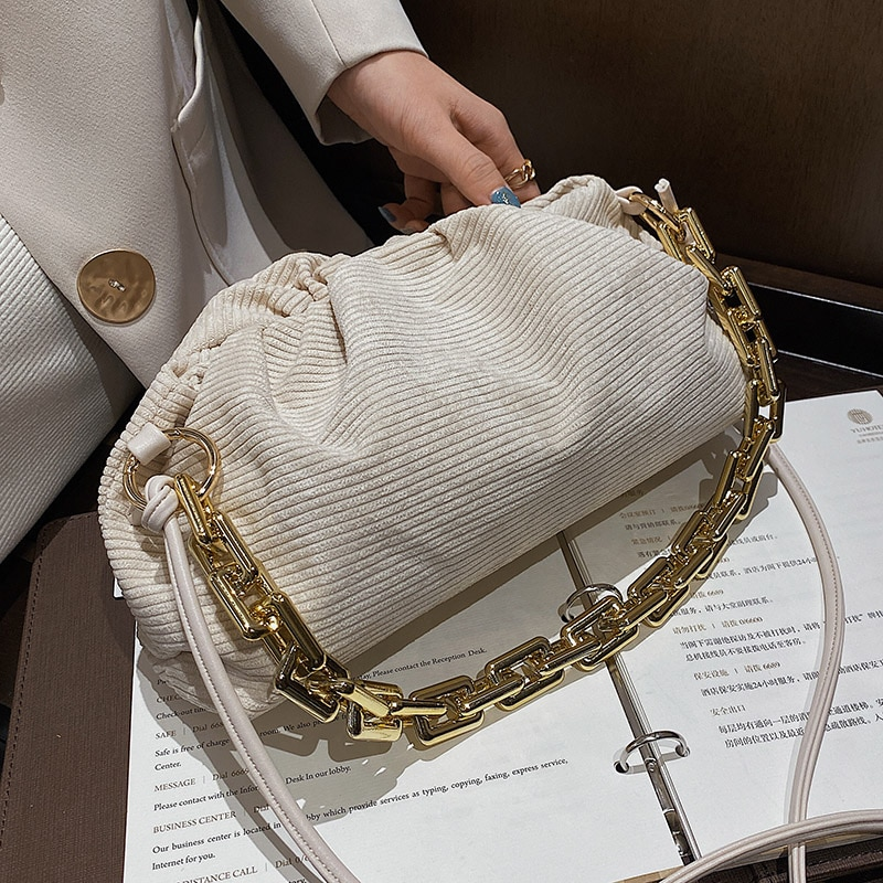 Corduroy Light Chain Handbags for Women 2021 Spring New Light Luxury Crossbody Shoulder Bags Green Purses Lady Fashion Clutch