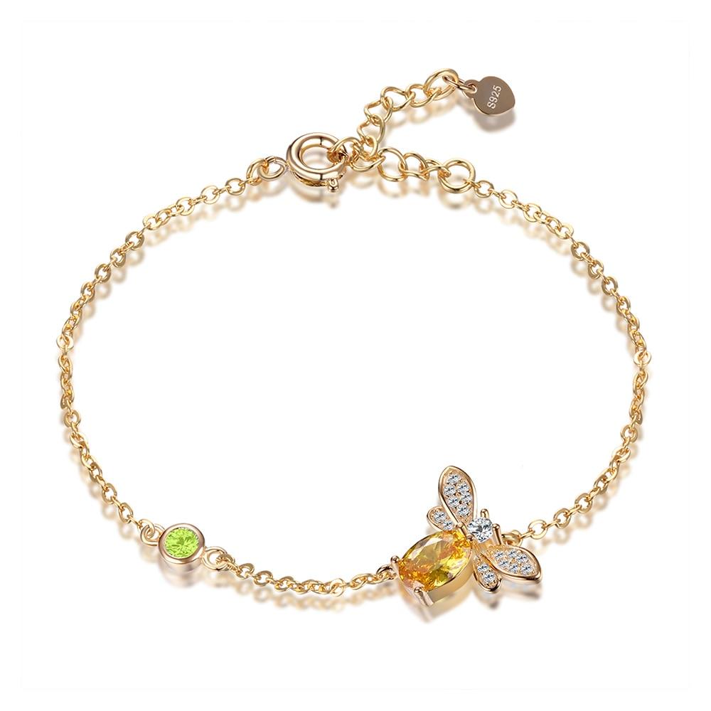 Dijes de diseño de abeja, conjuntos de joyas de plata de ley 925, colgante de citrina, collar, pendientes, anillo, pulsera, regalos de joyería para mujeres
