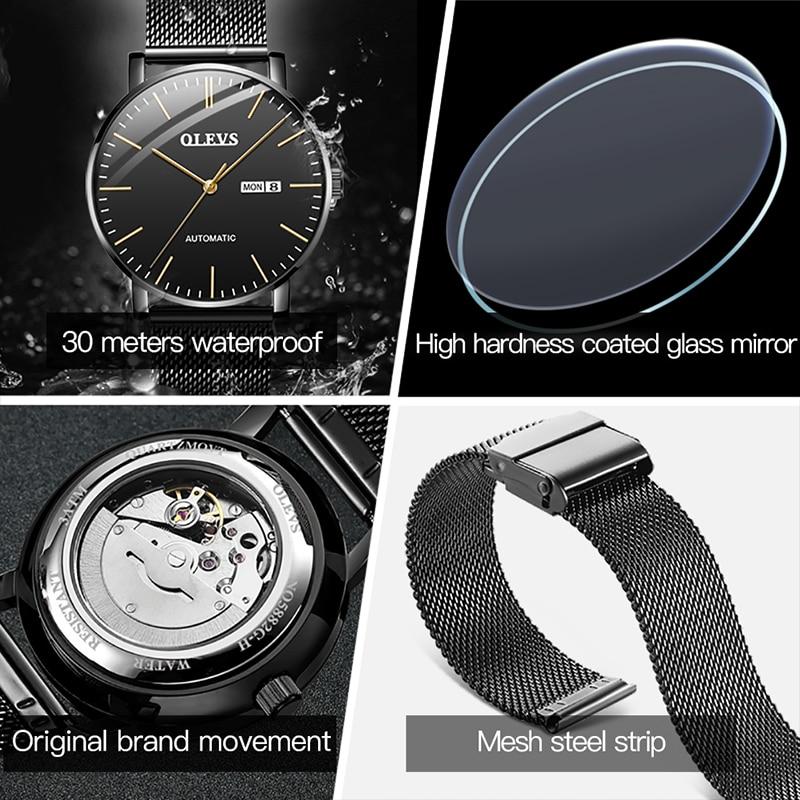 OLEVS 2021 New Minimalist Men's Automatic Mechanical Watch Men's Fashion Black Steel Belt Ultra-thin Waterproof Watch 5882 enlarge