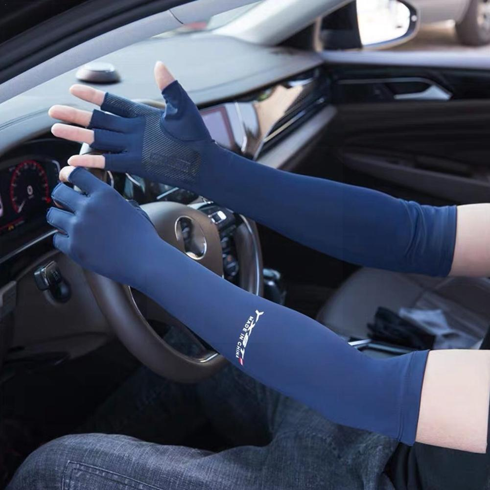 Sunscreen Gloves Summer Ice Silk Sleeves Driving Riding Fishing Non-slip Gloves Half-finger Sleeve Ice Cool H4z1