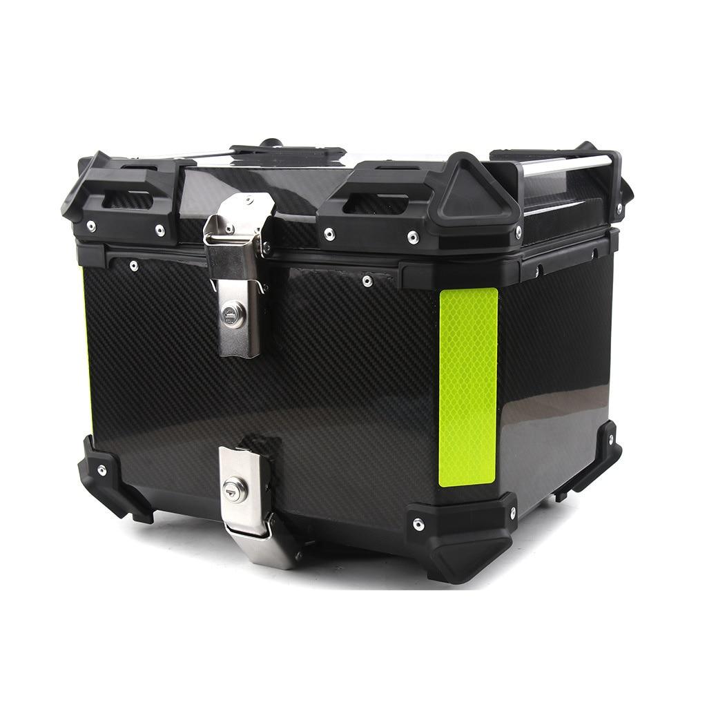 45L العالمي للدراجات النارية ألياف الكربون مربع خلفي 3K ألياف الكربون النقي تعديل الجذع سيارة كهربائية صندوق تخزين