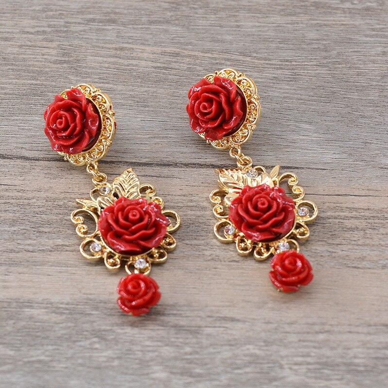 Pendientes de flores barrocas Rosa Palacio exagerado único rojo magnético joyería de moda pendientes de aro para mujer en joyería