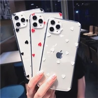 transparent love heart phone case for iphone 12 pro 11 pro max 7 8 plus xs max xr x 12 mini 6 6s se 2020 cute fundas back cover