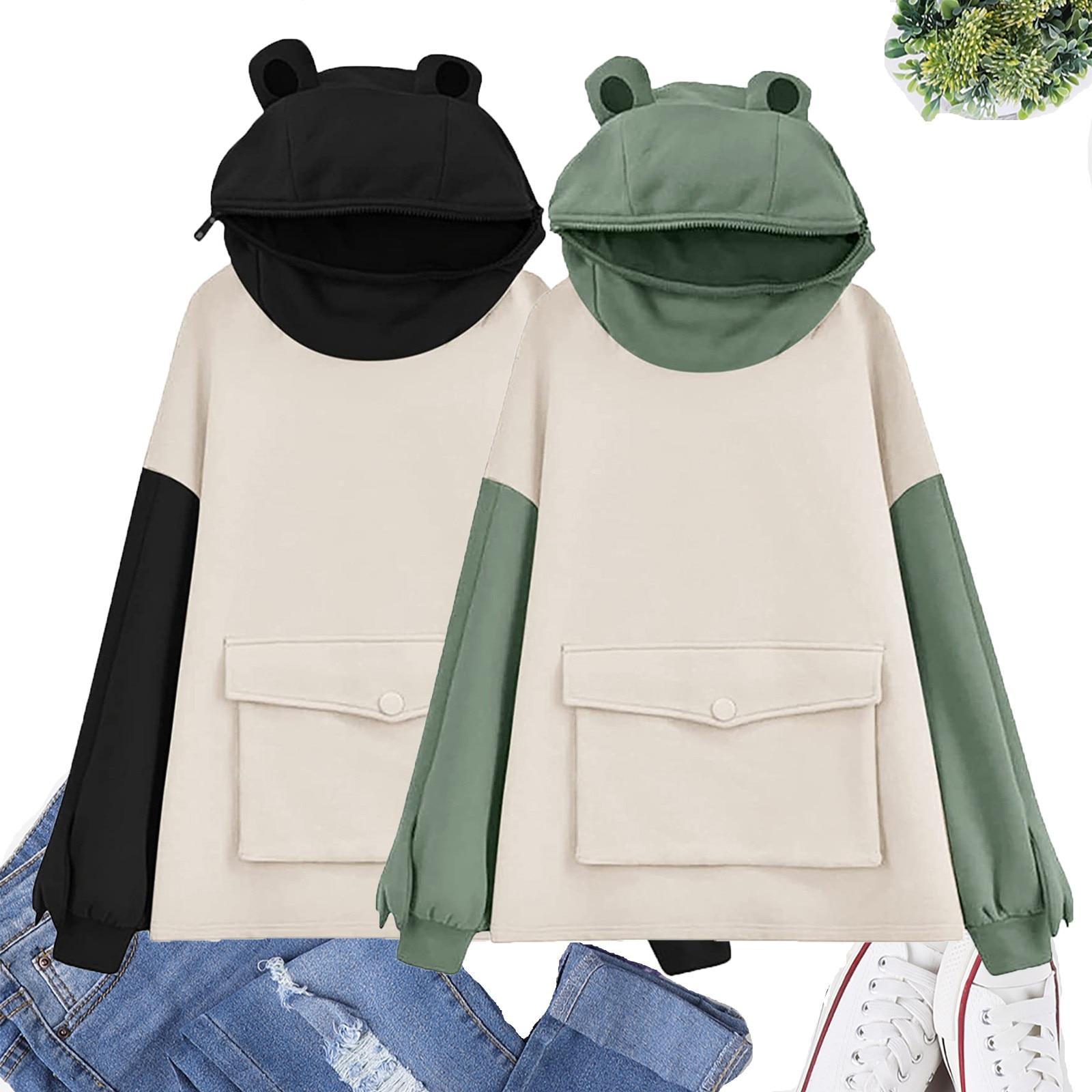 chic hooded long sleeve polka dot pocket design women s hoodie Frogs Hoodie Women Fashion Oversized Harajuku Hooded Sweatshirts Cute Design Print Long Sleeve Pullover Pocket Hoodies Tops N4