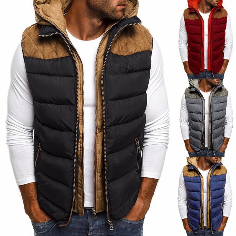 Fashion Winter Coat Vest Men Warm Sleeveless Jacket Casual Waistcoat Cotton Vest Hooded Coat  Down Jacket Men Vest