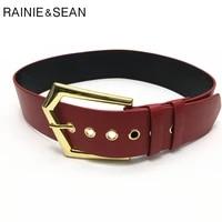 rainie sean vintage women belt wide red waist belts women pin buckle faux leather female trouser belt brand apparel accessories