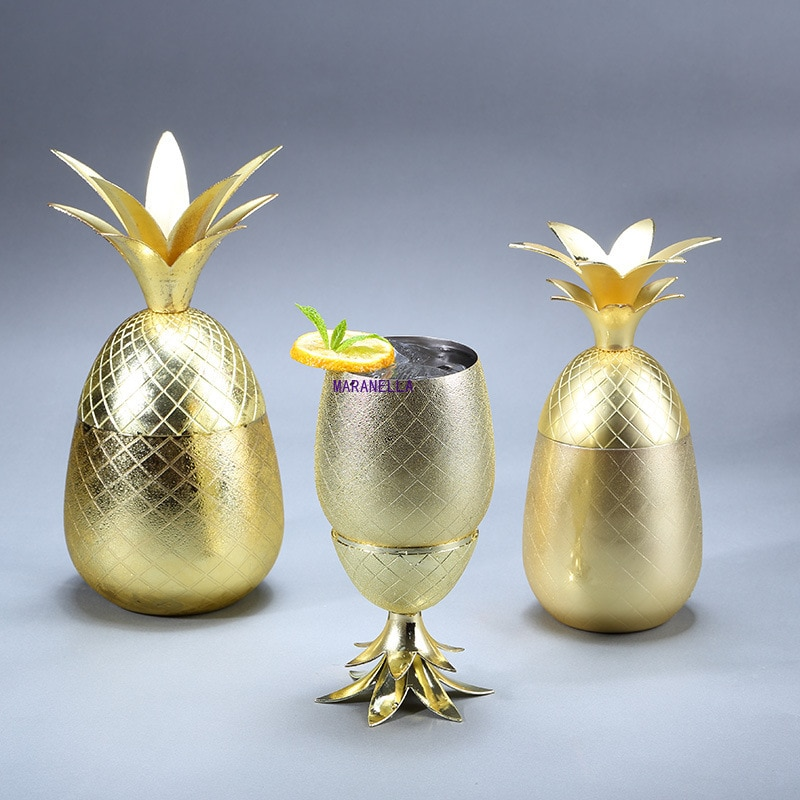 Pineapple Cocktail Glass Metal Copper Cup Moscow Mule Cup DIY Drink Wine Glass Home Decorations Bar Accessories Restaurant Use