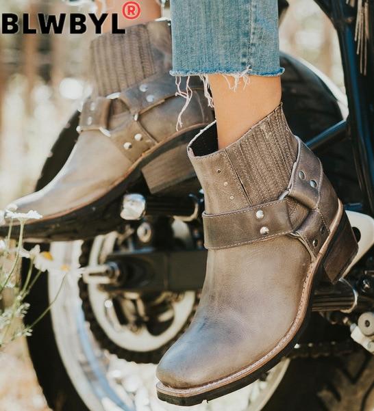 ¡Novedad de 2020! Botas de cuero a la moda para mujer, botas antideslizantes con punta redonda, zapatos de tacón cuadrado, botas de vaquero, botas para moto de mujer