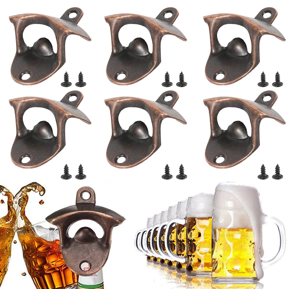 6PCS Bottle Opener Wall Mounted Wine Beer Opener Tools Can Opener Bar Drinking Accessories Home Decor Kitchen Party Supplies