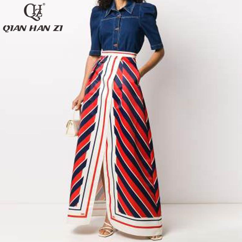 تشيان هان زي الخريف أزياء المدرج التنانير دعوى المرأة طويلة الأكمام الدنيم قمم و عالية الخصر الرجعية ميدي تنورة 2 قطعة مجموعة