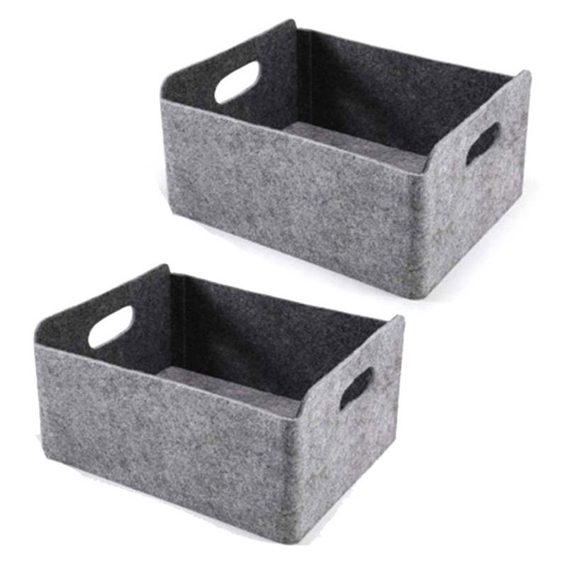 2Pcs Felt Storage Basket/Bin with Handles, Collapsible & Convenient Storage Solution