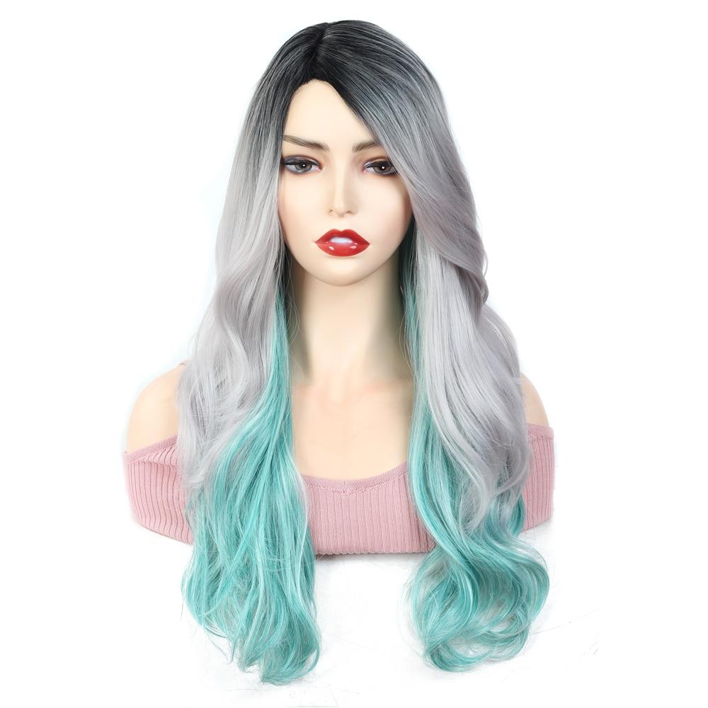 Pelucas de pelo sintético ondulado X-TRESS color gris, verde, 3 colores, estilo de peinado, fibra resistente al calor, peluca hecha a máquina para Cosplay de mujer