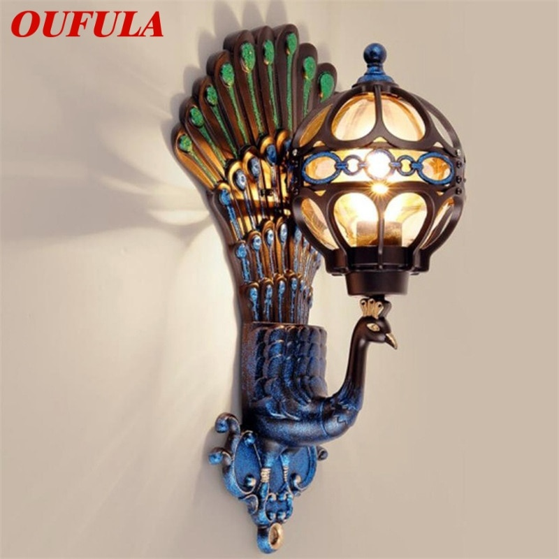 OUFULA Outdoor Wall Sconces Lamp Classical LED Peacock Light Waterproof Home Decorative For Porch