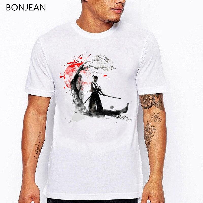 AliExpress - vintage t shirt men Japanese Samurai tshirt homme ink red sunset Cherry Blossom print t-shirt men aesthetic clothes streetwear