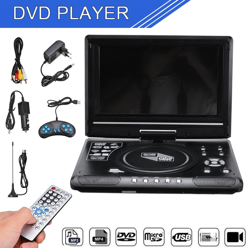 1SET Portable HD 9.8 Inch Car LCD DVD Player Game TV Player MP3 USB FM Radio Adapter W/ Rechargeable Lithium Battery AU Plug