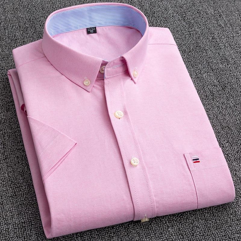 Рубашка мужская из ткани «Оксфорд» с короткими рукавами, мягкая удобная блуза из 100% хлопка, качественная сорочка классического кроя в повсе...