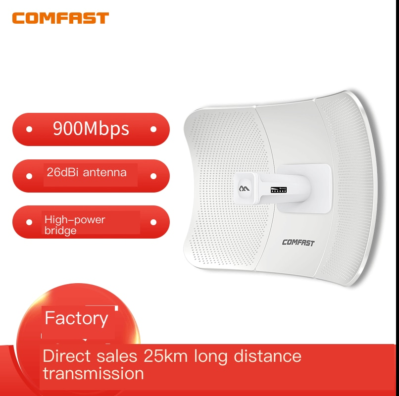 COMFAST CF-E319A 5G Wireless Bridge Outdoor 900Mbps 25KM Router Signal Booster CPE  2*26dBi  WiFi Repeater Extender Router IP65