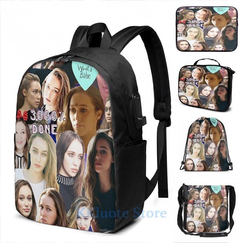 Engraçado impressão gráfica alycia debnam carey colagem carga usb mochila sacos de escola das mulheres saco de viagem do portátil dos homens