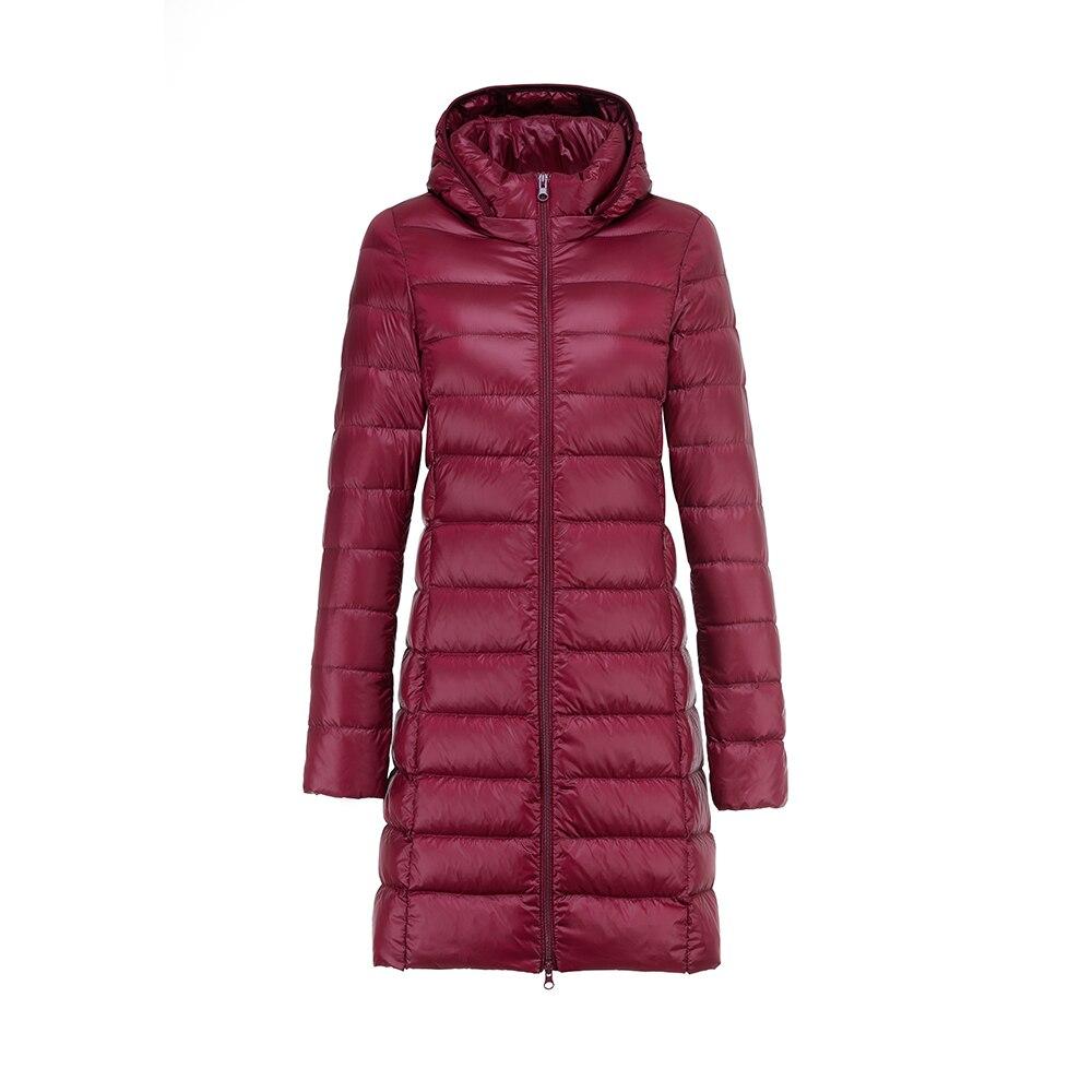 Chaquetas ultraligeras de invierno 2020 para mujer, abrigo largo de plumas para mujer, Parka con capucha de plumón de pato blanco con gorro extraíble
