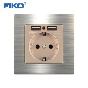 FIKO Dual USB Charging Port 5V 2.1A LED Indicator 16A Wall EU Power Socket Outlet Stainless Steel Panel Gold Grey Black White