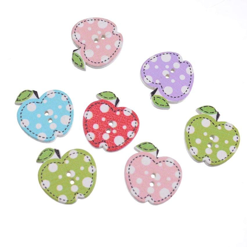 Free Shipping Retail 50Pcs Mixed 2 Holes Cartoon Apple Fruit Shape Wood Sewing Buttons Scrapbooking 20x21mm
