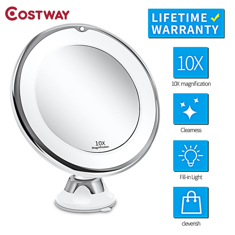 COSTWAY Led Makeup Magnifying Cosmetic Mirror Vanity Mirror Make up Grossissant 10X Mirrors with Light Droppship & Sucker