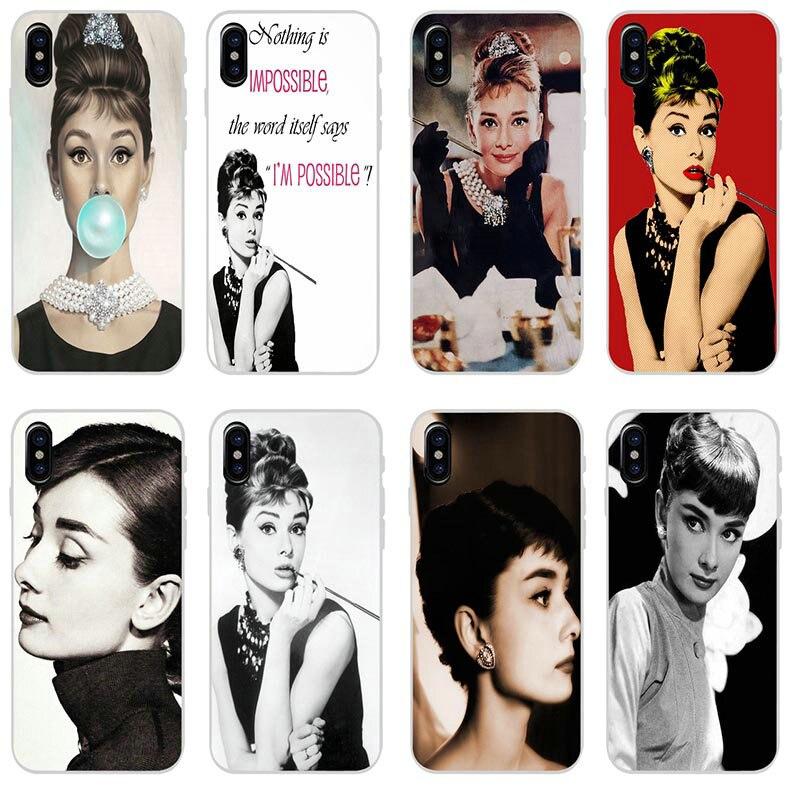 Moda Audrey Hepburn suave TPU silicona teléfono móvil fundas para iphone 7 6S 6 8 Plus 5 5S 5C SE X XR XS Max 4 4S Coque Shell