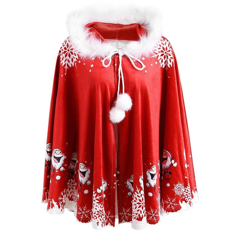 Winter Christmas Cape Coat Women Plus Size Lady Mommy Cartoon Santa Printed Hooded Cape Coat Cloak 2019 New Arrival 75