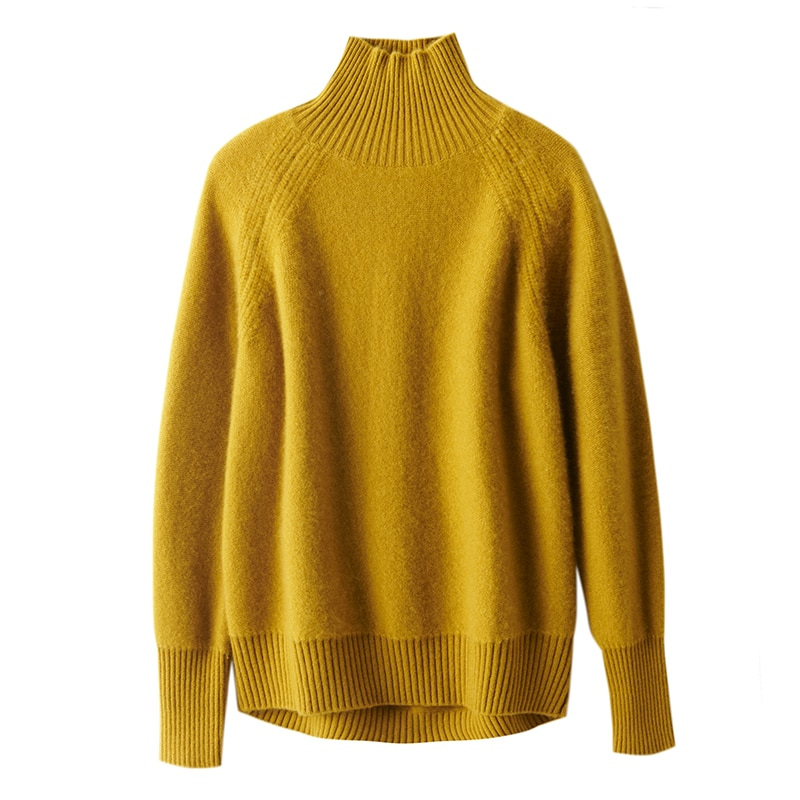 Tailor Sheep Winter Cashmere Sweater Women Pullover Casual Solid Color Turtleneck Jumper Tops Loose Thicken Long Sleeve Tops enlarge