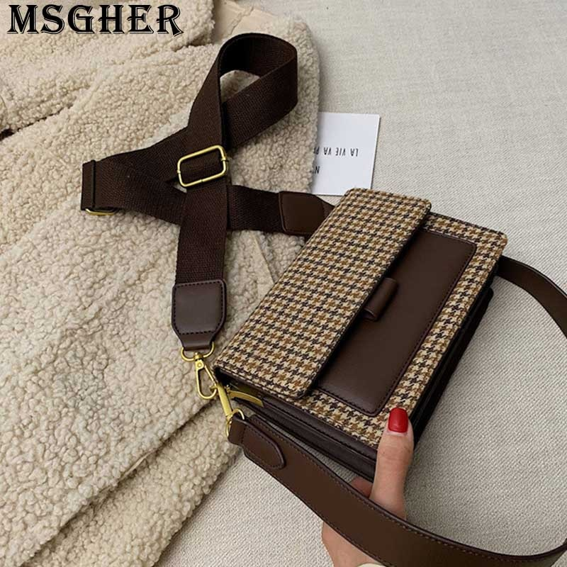 MSGHER Plaid Panelled Flap Women Shoulder Bag New Style 2021 Autumn Joker Wild Canvas Belt French Style Female Bag WB3250