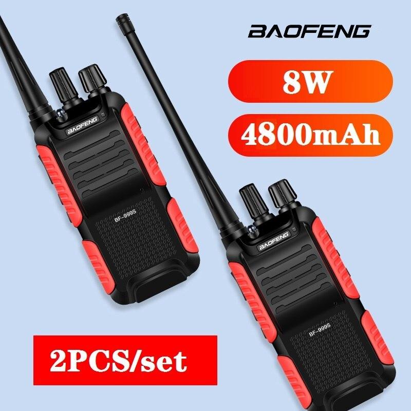 2pcs Baofeng BF-999S high power 8W 4800mAh Two-way Radio walkie talkie 10km CB Radio FM Transceiver walkie-talkie рация