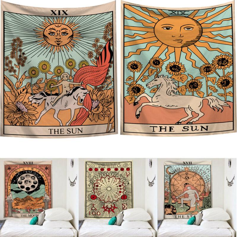 Mandala Tarot Karte Muster Decke Tapestry Indischen Hippie Mandala Sonne und Mond Druck Wand Hängen Wohnkultur 95x73CM