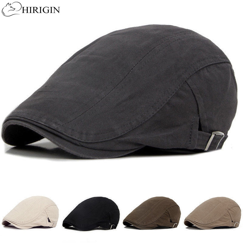 Adjustable Beret Caps Outdoor Sun Breathable Bone Brim Hats Womens Mens Herringbone Solid Flat Beret