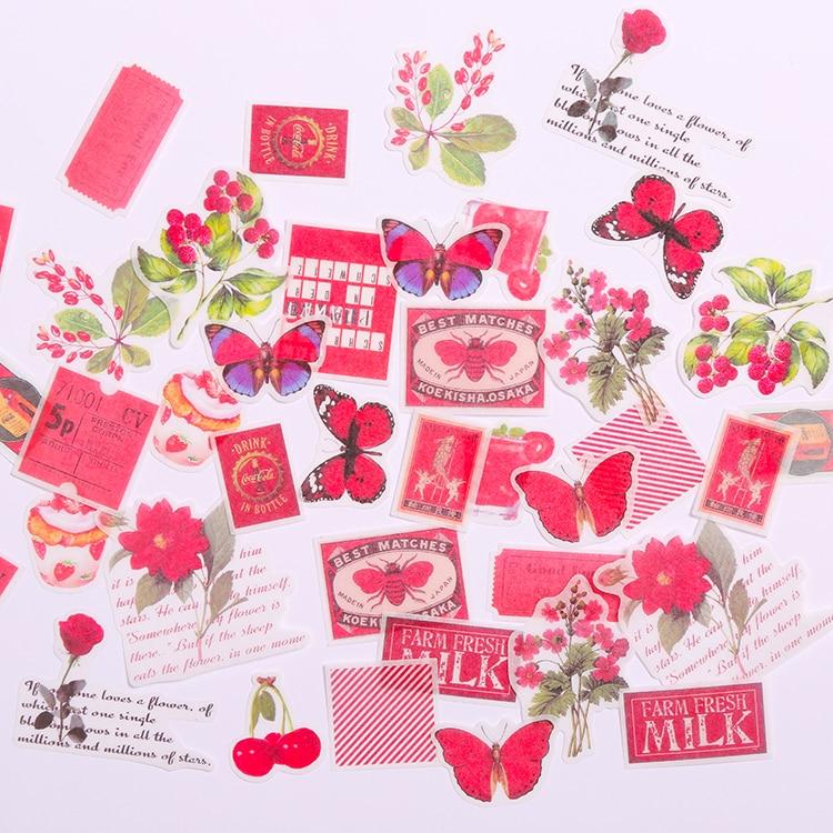40 Pçs/set Vintage Chá Vermelho Etiqueta Autocolante DIY Craft Scrapbooking Álbum Junk Feliz Planejador Diário Adesivos Decorativos