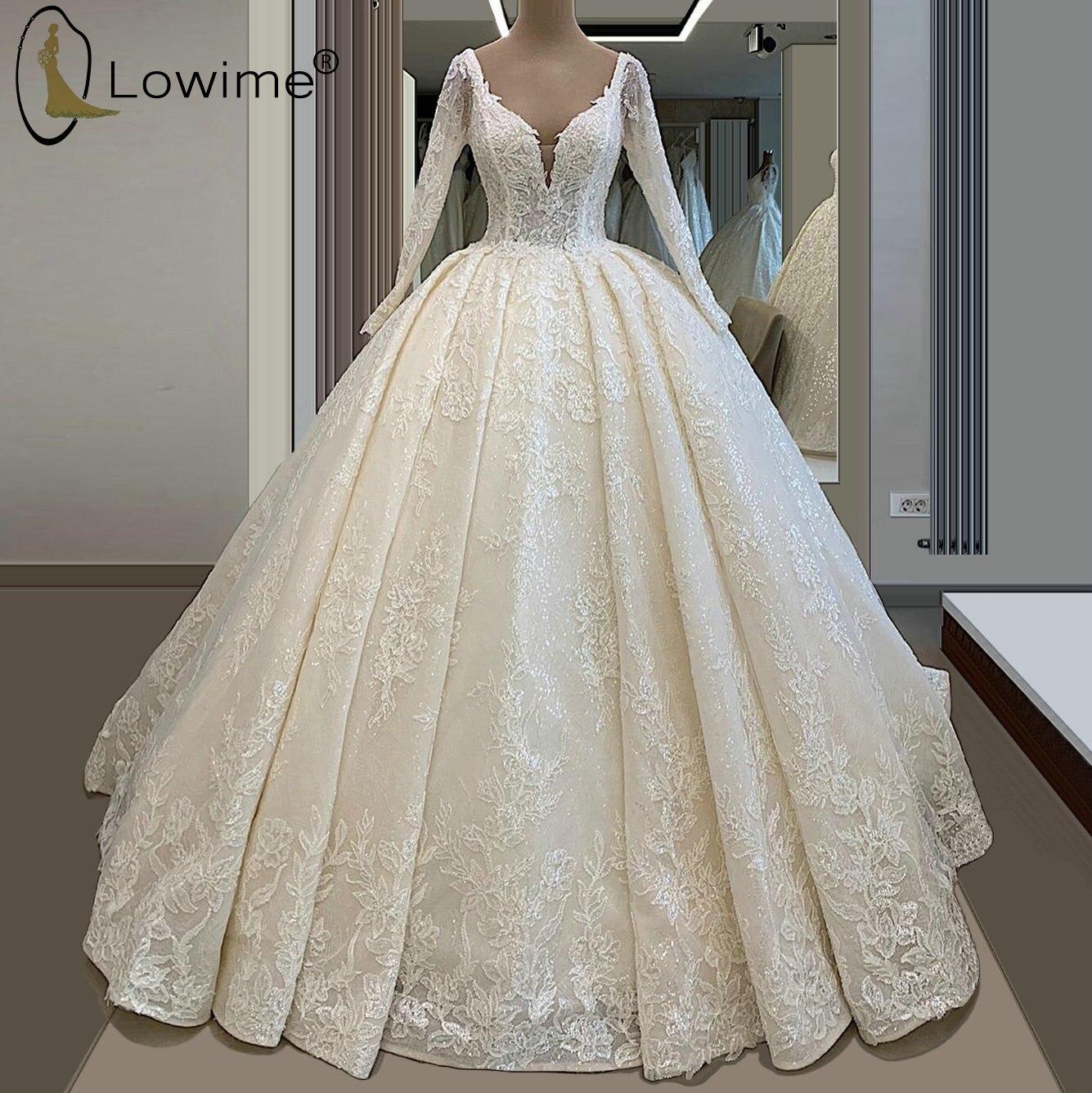 الأميرة الخامس الرقبة مثير فساتين الزفاف الأكمام الطويلة زين الترتر الدانتيل زي العرائس رداء دي ماري