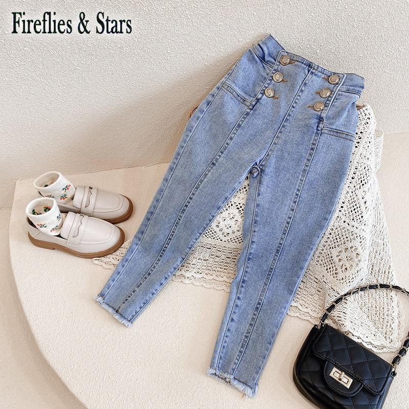 Для девочек на весну и осень, джинсовые штаны для малышей Детские джинсы и штаны для детей Брюки Streychable золота, серебра, меди и пуговицами для детей в возрасте 4 14 лет|Джинсы| | АлиЭкспресс