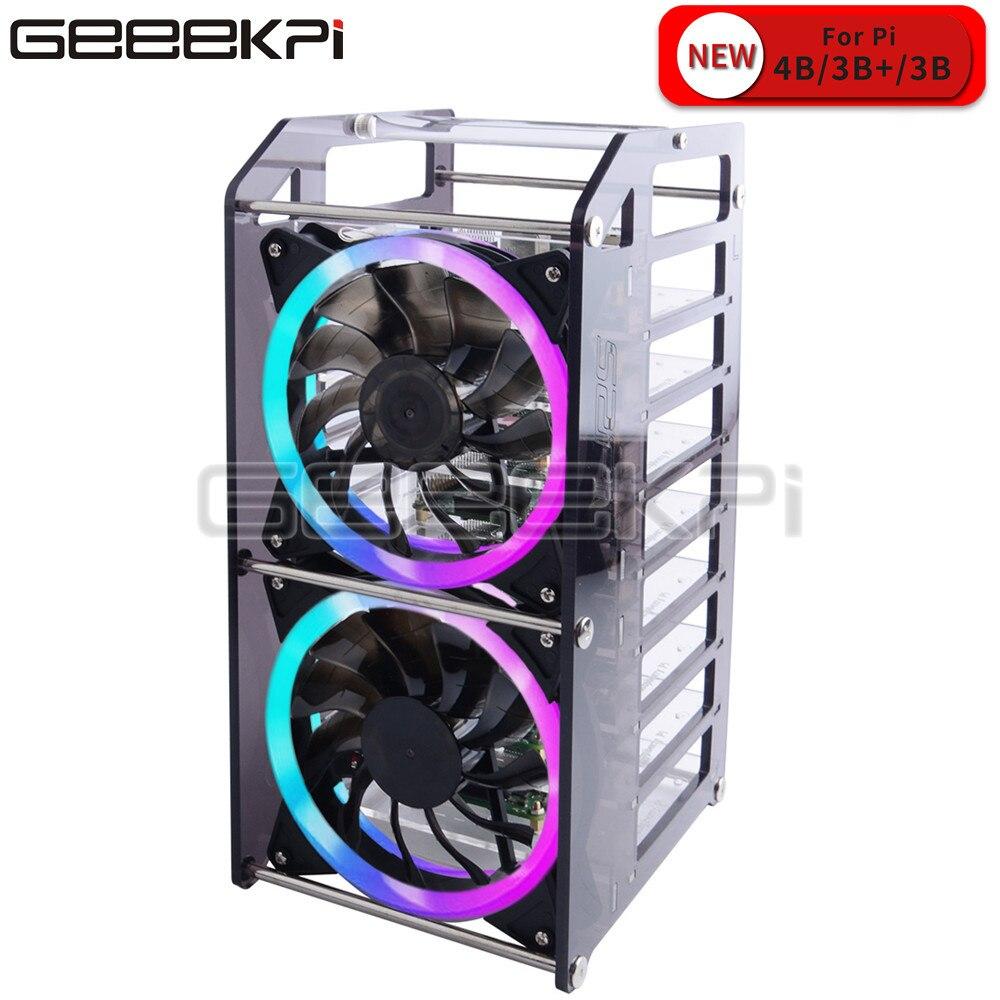 Rack Tower 8 capas caja de acrílico clúster Super grande ventilador de refrigeración LED RGB luz para Raspberry Pi 4 B / 3 B + / 3 B / Jetson Nano