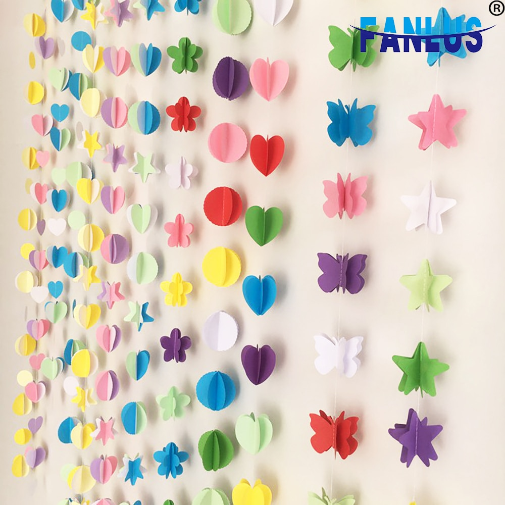 Conjunto de 16 unidades de arcoíris para boda guirnaldas de papel, suministros para fiestas, pancarta de Baby Shower, decoración de guirnalda, decoraciones para fiestas de feliz cumpleaños