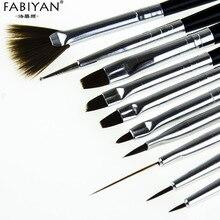10 Pcs Nail Art Brush Acrylic Gel Poilsh Painting Drawing Carving Dotting Pencil Black Manicure Tools Liner Dotting Pen Set