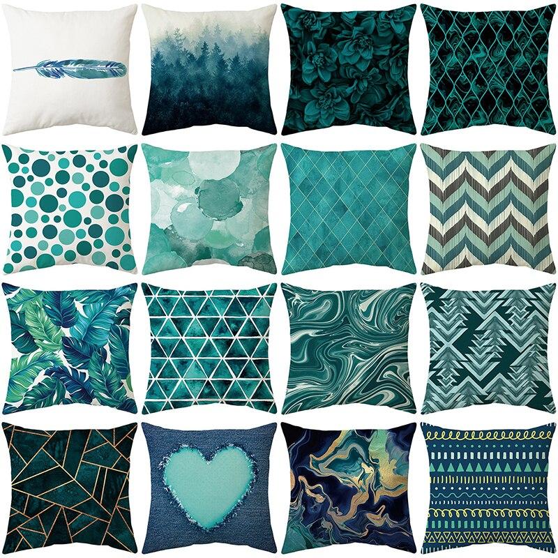 Голубой чехол для подушки, стильный чехол для подушки, домашний декоративный чехол для дивана, автомобильный чехол для подушки, декоративны...