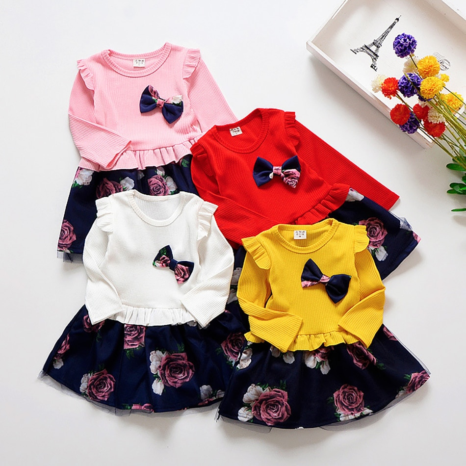 Spring Autumn Toddler Girl Dress Cotton Long Sleeve Toddler Dress Floral Bow Kids Dresses for Girls Fashion Girls Clothing western girl spring floral dress girl baby princess lace hollow collar fashion skirt dress kids dresses for girls knee length