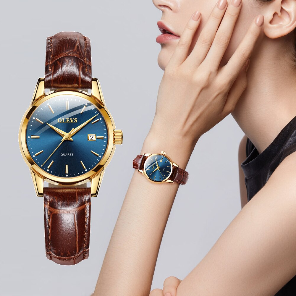 OLEVS Newest Womens Watches Waterproof Wrist Watches for Women Casual Ladies Watch Quartz Leather Band enlarge
