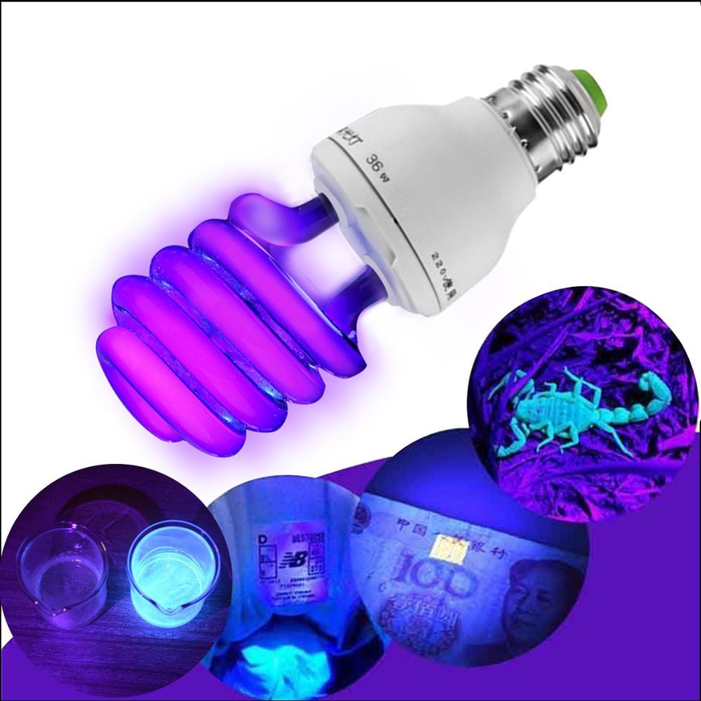 Luz negra BLB lámpara ultravioleta UV 15W 20W 30W 36W 40W bombilla azul detección fluorescente lámpara E27 220V no led luz tv Decoración