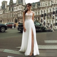 sodigne boho wedding dress new simple sexy side slit lace backless bridal gown v neck beach wedding dresses plus size