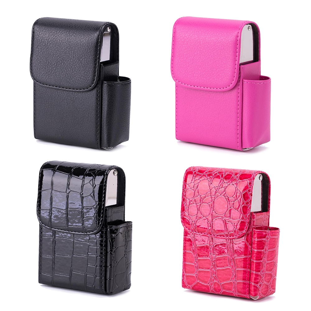 Cigarette Box Lighter Holder PU Leather/Aluminum Smoker Smoke Tools Cigar Tobacco Case Container Men