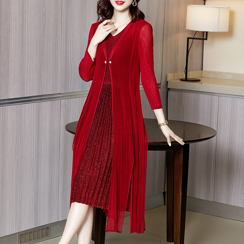 Plus Size Dresses For Women 45-75kg 2021 Spring And Autumn V-Neck Elastic Miyake Pleated Slim Elegant Faux Two Piece