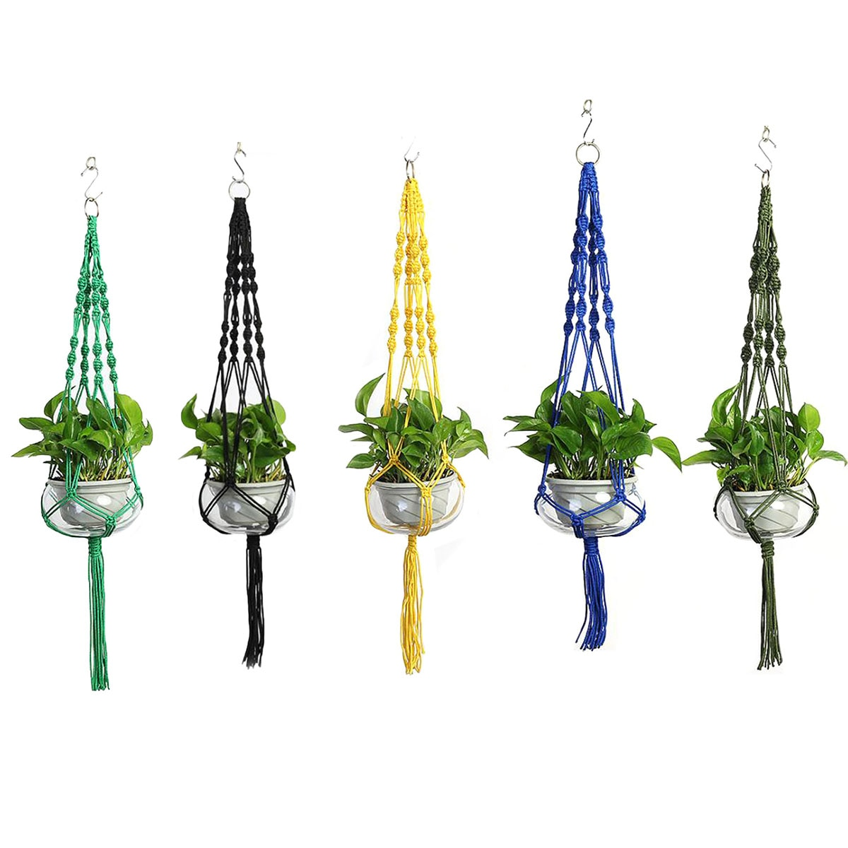 Nylon Tassel Flower Pot Net Hand-Woven Multicolor Wall Hanging Planter Basket Suitable for Indoor Outdoor Decoration